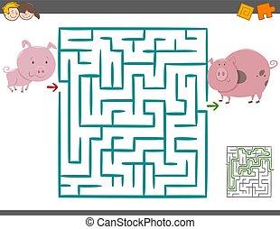 zdezorientować, gra, świnie, wolny czas