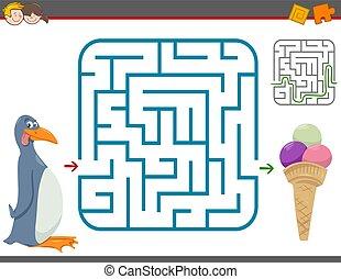 zdezorientować, gra, wolny czas, pingwin