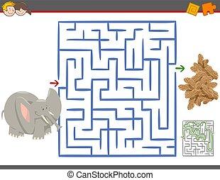 zdezorientować, gra, wolny czas, słoń