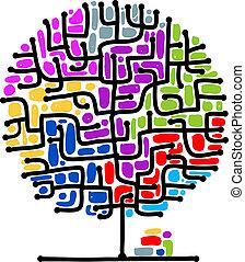 zdezorientować, projektować, twój, drzewo
