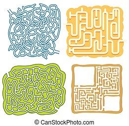 zdezorientować, zagadka, komplet, gra, szablon