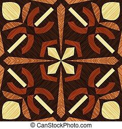 zdobnictwo, drewniany, lekki, obiekt, ozdoba, wzory, ciemny, drewno, drewno, inkrustować, textured, geometryczny, dachówka, typy