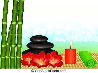 zdrój, tło, świeca, bambus