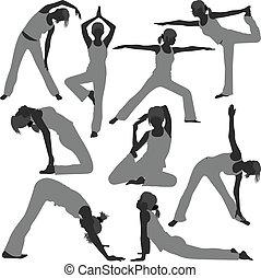 zdrowa kobieta, pozy, yoga, ruch