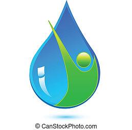 zdrowa woda, kropla, człowiek, logo