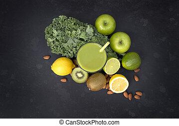 zdrowe życie, zielony, smoothie