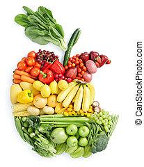zdrowe jadło, jabłko, bite: