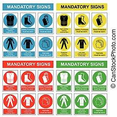 zdrowie, bezpieczeństwo, zbiór, znak