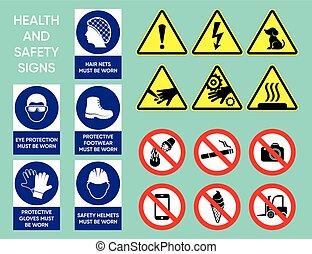 zdrowie, bezpieczeństwo, zbiór, znaki
