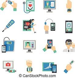 zdrowie, cyfrowy, ikony, komplet, płaski