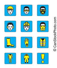 zdrowie, komplet, bezpieczeństwo, ikony