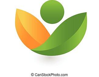 zdrowie, liście, logo, zielony, natura