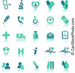zdrowie, medyczna troska, zielony, ikony
