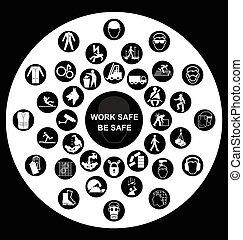 zdrowie, okólnik, bezpieczeństwo, ikony