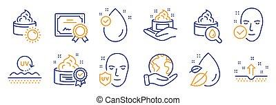 zdrowie, skin., śmietanka, wektor, piękno, skóra, taki, ikony, słońce wystawiają, troska