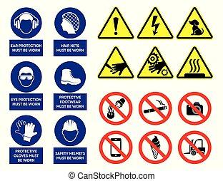 zdrowie, wektor, bezpieczeństwo, znaki