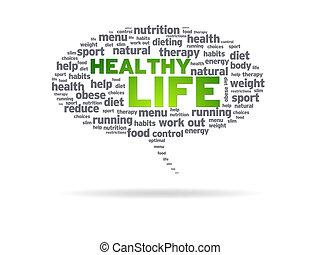 zdrowy, -, życie, bańka mowy