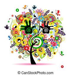 zdrowy, energia, drzewo, projektować, ziołowy, twój