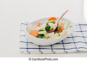 zdrowy, fotografia, jadło., studio, roślina, mix.