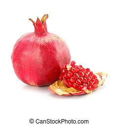 zdrowy, granat, odizolowany, jadło, owoc, czerwony