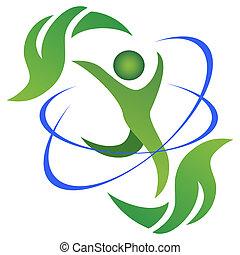 zdrowy, logo, życie, kasownik