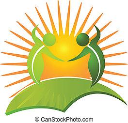 zdrowy, logo, życie, wektor, natura