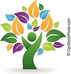 zdrowy, logo, drzewo, ludzie