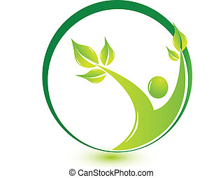 zdrowy, logo, liście, człowiek