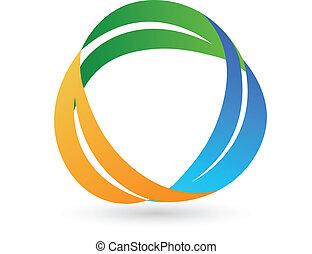 zdrowy, logo, liście