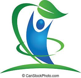 zdrowy, logo, natura