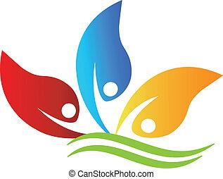 zdrowy, logo, optymistyczny, ludzie