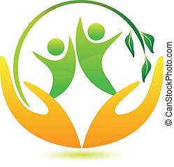 zdrowy, logo, szczęśliwy, ludzie