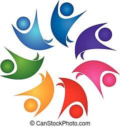 zdrowy, logo, teamwork, ludzie