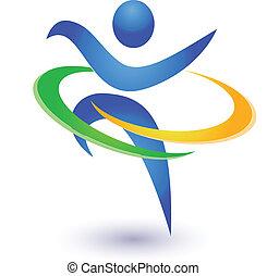 zdrowy, logo, wektor, szczęśliwy