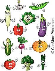 zdrowy, organiczny, warzywa, litery, rysunek