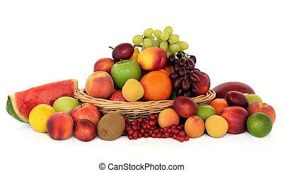zdrowy, owoc, zbiór