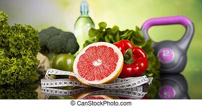 zdrowy, pojęcie, styl życia, witaminy, skład