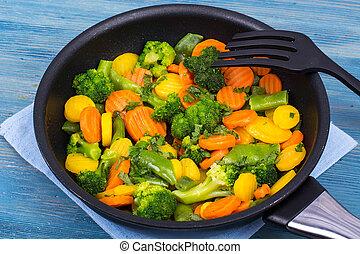 zdrowy, roślina, jadło., zmieszać