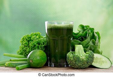 zdrowy, sok, zielony
