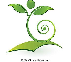 zdrowy, swirly, człowiek, liść, logo