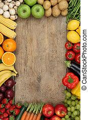 zdrowy, warzywa, copyspace, owoce