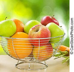 zdrowy, warzywa, owoce, organiczny, jadło.