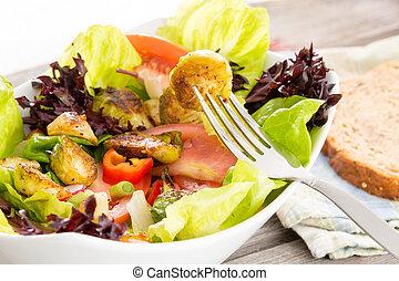 zdrowy, wegetarianin, cieszący się, mąka