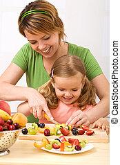 zdrowy, zabawa, owoc sałata, zrobienie