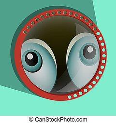 zdziwiony, eyes., gałki oczne, -, vector., gapiowski, zabawny, szpiegowanie