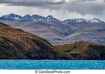 zealand, góra, tekapo, jezioro, skala, nowy, krajobraz, prospekt