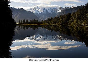 zealand, nowy, -, jezioro, lustro