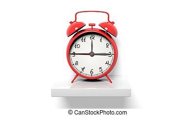 zegar, ściana, półka, alarm, retro, biały czerwony