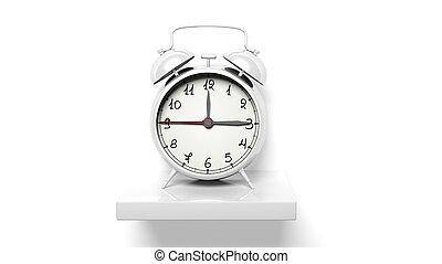 zegar, ściana, półka, alarm, retro, biały, srebro