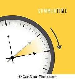 zegar, światło dzienne, zbawczy, lato, słońce, czas